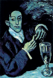 "The Absinthe Drinker (portrait of Angel Fernandez de Soto), Pablo Picasso, ""Blue Period"" (1901-1904)"